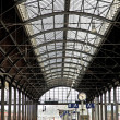 Classicistic iron train station from inside - Stock Photo