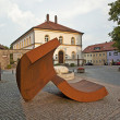 Modern iron sculptures in front of the museum in Schillingsfuerst - Stock Photo