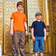 Children are posing in the grand palace — Stock Photo