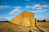 Bale of straw with blue sky — Stock Photo