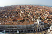 Overlooking the beautiful city and old palaces of venice with the laguna f — Stock Photo