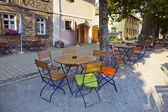 Outside table of a restaurant in Bavaria — Stock Photo