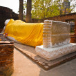 Lying Buddha dressed in yellow scarf in temple Wat Yai Chai-mong - ストック写真