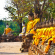 Buddha statues at the temple of Wat Yai Chai Mongkol in Ayutthay — Стоковая фотография