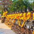 Buddha statues at the temple of Wat Yai Chai Mongkol in Ayutthay - ストック写真
