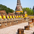 Stock Photo: Buddhstatues at temple of Wat Yai Chai Mongkol in Ayutthay