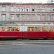 Vintage tram in Vienna in motion - Foto Stock