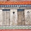 Paintings in temple Wat Pho teach Acupuncture and fareast medicine — 图库照片