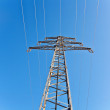 Electricity high voltage tower with blue sky — Stockfoto
