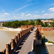 Stock Photo: Old bridge in Veronover Adige river - Castelvecchio