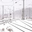 Railroad tracks in Winter with snow - Foto de Stock