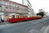 Vintage tram in Motion — Stock Photo