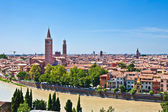 Verona panoramic view from the hill over the medieval city with — Stock Photo