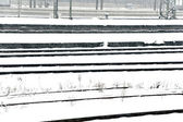 Rails in snow furry covered by snow — Stockfoto