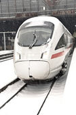 High speed train in station in Wintertime — Stock Photo