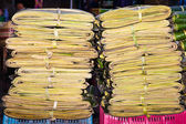 Palm leaves bundled as packing material — Stock Photo