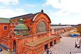 Old classicistical train station in wiesbaden — Stock Photo