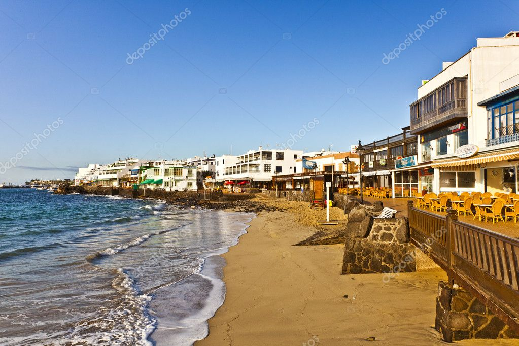 Promenade of scenic Playa Blanca with seaside in the morning  Stock Photo #5539054
