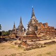 Famous temple area Wat Phra Si Sanphet - Stock Photo