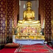 Monastery Wat Na Phramane in Ajutthaya with famous gold buddha — Stock Photo