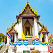 Monastery Wat Na Phramane in Ajutthaya with famous gold buddha a — Stock Photo