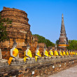 Buddhstatues at temple of Wat Yai Chai Mongkol — Stock Photo #5543541