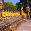 Buddha statues at the temple of Wat Yai Chai Mongkol — Stock Photo #5543552