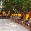Buddha statues at the temple of Wat Yai Chai Mongkol — Stock Photo #5543554