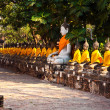 Buddha statues at the temple of Wat Yai Chai Mongkol — Stock Photo #5543556