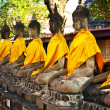 Buddha statues at the temple of Wat Yai Chai Mongkol — Stock Photo #5543562