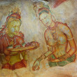 World famous frescos of ladies in Sigiriya style at the palace of Kashyapa - Stock Photo