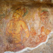 World famous frescos of ladies in Sigiriya style at the palace of Kashyapa, — Stock Photo
