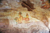 World famous frescos of ladies in Sigiriya style at the palace of Kashyapa — Stock Photo