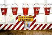 Bucket with sand for fire fighting — Stock Photo