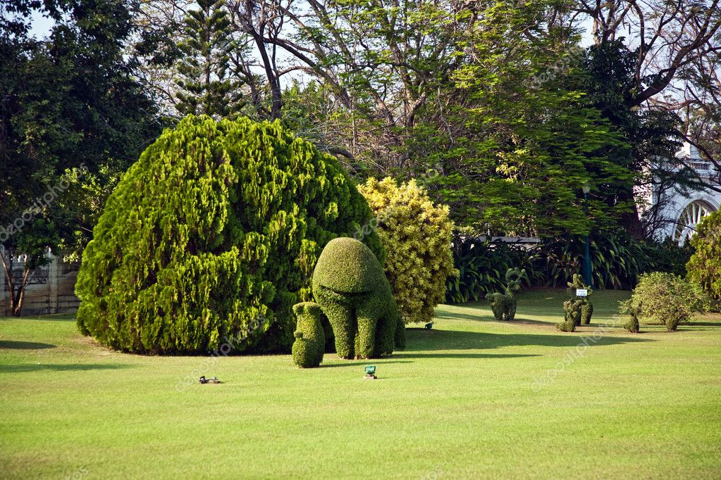 Bushes cut to animal figures in the park of Bang Pa-In Palace near Bangkok, Thailand (Summer Palace of the Thai king) near Ajuttaya — Stock Photo #5543595