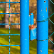 Foto Stock: Green fence with gate