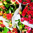 Beautiful flowers at the flower market - Stock Photo
