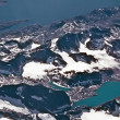 Birds view from the plane to the glaciers and mountains of the a — Stock Photo #5615738