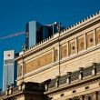 Old opera house in Frankfurt with blue sky - Stock Photo