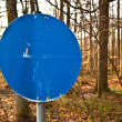 Pedestrian sign with nearly lost color in the forest — Stock Photo
