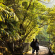 Couple walks the romantic peak way in Hong Kong, Victoria — Stockfoto