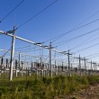 Stock Photo: Electrical power plant in farmland area