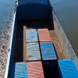 Ship on river transports container — Stock Photo #5618825
