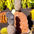 Stone sculptures build from volcanic stones - Stock Photo