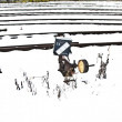 Snowbound rails in winter - Stock Photo