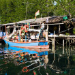 Huts and colorful  fisherboats at the mangrove everglades in a s - Stock Photo