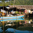 Huts and colorful fisherboats at the mangrove everglades in a s — Stock Photo #5619972