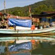 Huts and colorful  fisherboats at the mangrove everglades in a s - Stock fotografie