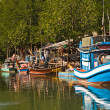 Stock Photo: Huts and colorful fisherboats at mangrove everglades in s