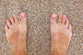Feet of man at the beach — Stock Photo
